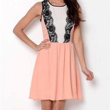 My Story Sleeveless Lace Detail Dress- Made in USA Size M