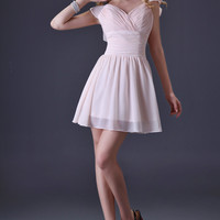 Pale Pinkish Ruffles Shoulder Wrap Ruched Homecoming Dress
