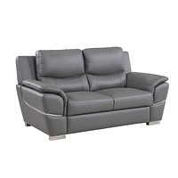 """Loveseat Couch - 37"""" Chic Grey Leather Loveseat"""