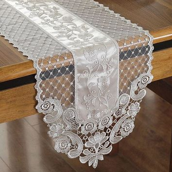 Elegant Lace  Embroidery Table Runner