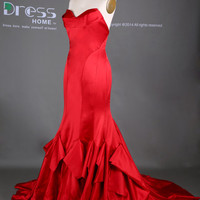 Red Sweetheart Long Mermaid Prom Dress/Mermaid Fishtail Evening Gown/Red Mermaid Wedding Dress/Sexy Party Dresses/Reception Dress DH365