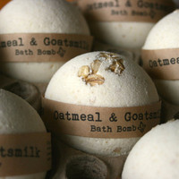 Oatmeal & Goats Milk Bath Bomb, Bath Fizzy, Natural Bath Bomb
