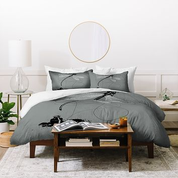Matt Leyen Here There And Back Again Grey Duvet Cover