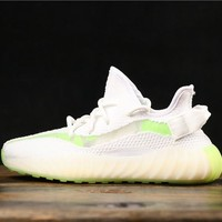 Adidas Yeezy 350 V3 Boost White/ Green Running Shoes- Best Online Sale