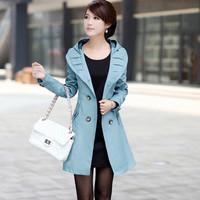 Autumn coat woman 2015 middle age fashion slim khaki black cortavientos long sleeve hooded women oversized 6xl 5xl trench coat