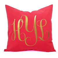 Monogrammed Pillow Cover - 16 x 16 Inch Personalized Pillow - Initial Pillow Cover - Monogrammed Pillow - Gold Monogrammed Pillows
