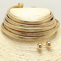 """11"""" gold 5 multi layer coil choker bib collar necklace .50"""" earrings 1.75"""" wide"""