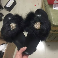 Versace Fur Slipper Shoes 6- colors