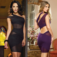 Sexy Womens One Shoulder Mesh Dress Cocktail Evening Clubwear Bodycon Dress EO56 SV000460 Vestidos = 1931553540