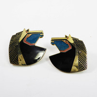 "Laurel Burch Horse Stud Earrings for Pierced Ears, ""Wild Stallion"" Horses, Black, Teal & Gold Tone Horse Head Posts, Vintage 1990's"