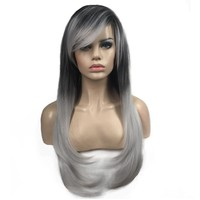 StrongBeauty Women's Wigs Silver/Black Ombre Bob Long Straight Hair Synthetic Full Wig