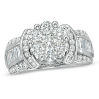 2-1/4 CT. T.W. Diamond Cluster Engagement Ring in 14K White Gold - View All Rings - Zales