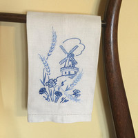 White Linen Hand Towel with blue Embroidery, Danish Windmill, Flowers, Vintage Linens