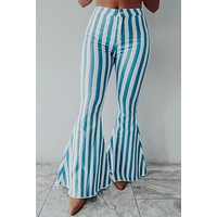 Just A Little Something Bell Bottoms: Blue/Ivory
