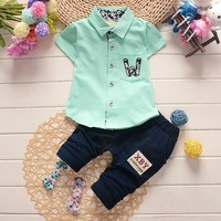 2pcs Baby Boys Clothing Set Infant Summer Clothes For Boy Child Cotton Outfits Children Suit Kids Casual Costume 0-4 years shirt