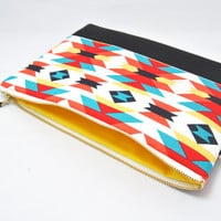 Aztec print clutch,  colorful wristlet, iPad sleeve, handbag, coral, turquoise blue, yellow, red orange, and black