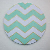 Mouse Pad mousepad / Mat - round - Shiny gold mint chevron - Computer Accessories Geekery Custom Desk Coworker Gifts Office