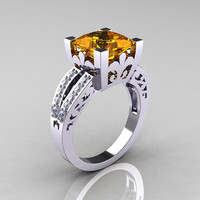 French Vintage 14K White Gold 3.8 Carat Princess Citrine Diamond Solitaire Ring R222-WGDCI