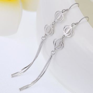 925 Silver Luxury Lights Shiny Korean Earrings [7495280519]