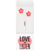 FOREVER 21 Floral Earbuds Hot Pink/White One