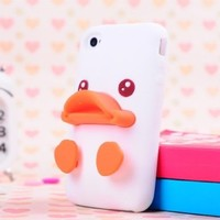 Cute Solid 3D Duck and Egg Soft Silicone Gel Back Case Cover for iPhone 4/4S White