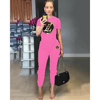 LV Louis Vuitton Summer Popular Women Casual Sequins Print Short Sleeve Top Pants Set Two-Piece Sportswear Pink