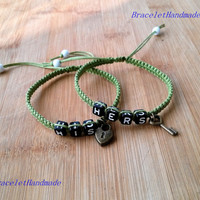 One Set of Couples Bracelets, His and Hers, Key Lock, Lovers Bracelets,Christmas gift, Bridesmaid Jewelry, Friendship Graduation Gifts