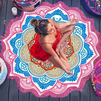 NEW Colorful Print Pink Blue Orange Indian Mandala Beach Towel Large Round Beach/Pool Blanket with Fringe