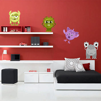 kcik1338 Full Color Wall decal bright funny monsters cute cartoon children's room bedroom