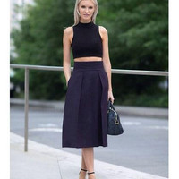 Black Turtle Neck Crop Top