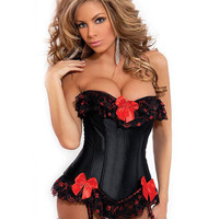 Strapless Burlesque Corset W-ruffle & Bow Accents, Removable Garters & G-string Black 2x