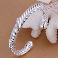 Unisex Men Womens 925 Sterling Silver Cuff Bangle Bracelet L85