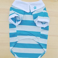 Hot Selling Cute Dog Red and Blue T-Shirt Clothes Lapel Stripe Cotton Puppy Pet Dog Clothes Ropa Para Perros Dog Clothes Summer