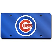 Chicago Cubs Laser Cut Blue License Plate