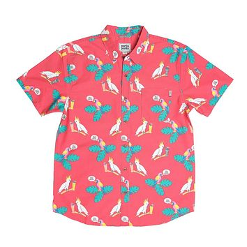 Polly Wanna Cocktail Short Sleeve Button Down Party Shirt by Party Pants
