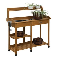Wooden Potting Bench Garden Work Table with Sink and Shelving in Light Oak Finish