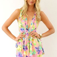 Neon Print Mini Playsuit with Plunge Neck & Frill Detail