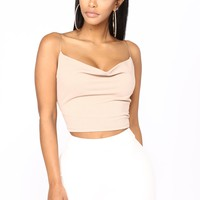 Too Cool Girl Tank Crop Top - Nude
