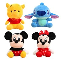 Disney Plush Mickey Mouse Minnie Winnie the Pooh Doll Lilo and Stitch Cute Bear Pig Children's Day Present Toy For Kid Girl