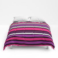 Stripes Pink Purple Black White Comforters by vintageappeal623
