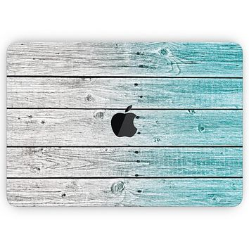 """Trendy Teal to White Aged Wood Planks - Skin Decal Wrap Kit Compatible with the Apple MacBook Pro, Pro with Touch Bar or Air (11"""", 12"""", 13"""", 15"""" & 16"""" - All Versions Available)"""