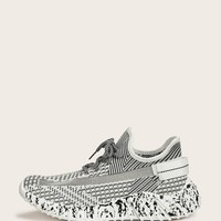 Men Striped Detail Lace-up Front Trainers