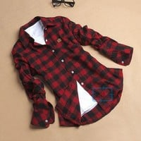 Women Button Down Casual Lapel Shirt Plaids & Checks Flannel Shirts Tops Blouse