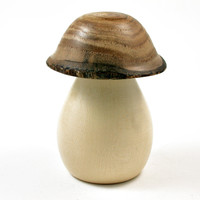 LV-2534 Holly & Japanese Pagoda Tree Wooden Mushroom Threaded Box, Urn-SCREW CAP