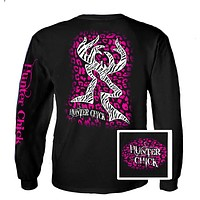 Country Life Outfitters Hunter Chick Black & Pink Cheetah Deer Head Hunt Vintage Long Sleeve Bright T Shirt
