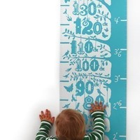 Grow (Height Growth Chart) in Poppy Red - decorative screen print