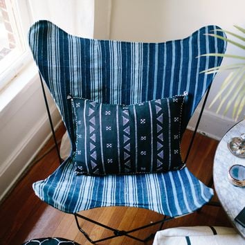 Indigo Striped Mudcloth Butterfly Chair