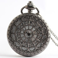 Large black spider web pocket watch retro nostalgia hollow men and women love to hang quartz watch gift watches (Color: Black) = 1754095364