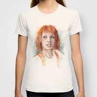 Leeloo Portrait   Multipass   The Fifth Element Watercolor T-shirt by Olechka