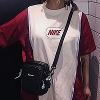"""Hot Sale """"Nike"""" Trending Women Leisure Retro Red Beige White Color Matching Short Sleeve T-Shirt Pullover Top I-AA-XDD"""